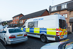 © Licensed to London News Pictures. 25/03/2016. London, UK. A police vehicle outside the cordon in Magpie Close in Forest Gate, east London. Five people have been taken to hospital, with one man in a critical condition. Photo credit : Vickie Flores/LNP