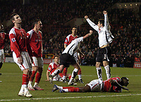 Photo: Olly Greenwood.<br />Charlton Athletic v Fulham. The Barclays Premiership. 27/12/2006. Fulham's Franck Queudrue celebrates scoring the equalizing goal while the Charlton player look dejected