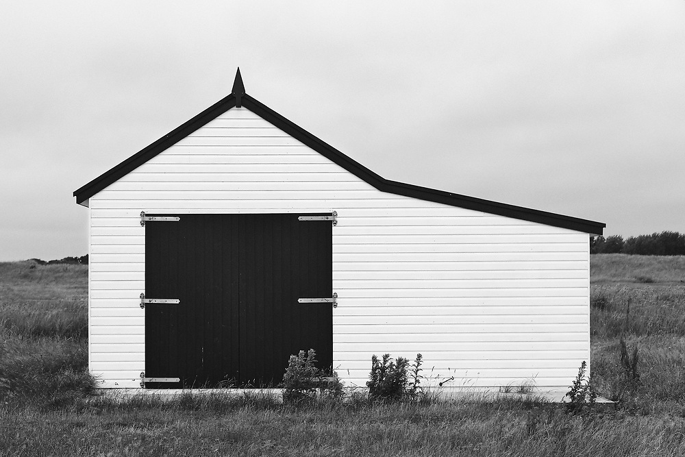 Bright white building wood clad, on the sea front near Hunstanton.<br /> <br /> Photo by Jonathan J Fussell, COPYRIGHT 2021