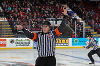 KELOWNA, BC - JANUARY 8: Referee Ward Pateman stands on the ice at the Kelowna Rockets against the Victoria Royals  at Prospera Place on January 8, 2020 in Kelowna, Canada. (Photo by Marissa Baecker/Shoot the Breeze)