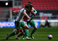 Han-Noah Massengo of Bristol City is challenged by Ryan Leonard of Millwall and Jed Wallace of Millwall - Mandatory by-line: Ryan Hiscott/JMP - 15/12/2020 - FOOTBALL - Ashton Gate - Bristol, England - Bristol City v Millwall - Sky Bet Championship