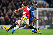 Michy Batshuayi of Chelsea runs past Harry Maguire of Manchester United during the English Premier League match between Chelsea and Manchester United at Stamford Bridge, Monday, Feb. 17, 2020, in London, United Kingdom. Manchester United defeated Chelsea 2-0.(Salvio Calabrese/Image of Sport)