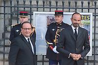 Edouard Philippe _François Hollande Obsèques de Jacques Chirac Lundi 30 Septembre 2019 église Saint Sulpice Paris