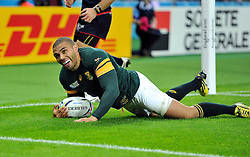 Bryan Habana of South Africa is all smiles after scoring his third and record-equalling try of the match - Mandatory byline: Patrick Khachfe/JMP - 07966 386802 - 07/10/2015 - RUGBY UNION - The Stadium, Queen Elizabeth Olympic Park - London, England - South Africa v USA - Rugby World Cup 2015 Pool B.
