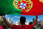 crowd of portuguese supporters at Alameda Dom Afonso Henriques, in Lisbon. Portugal's national squad won the Euro Cup the day before, beating in the final France, the organizing country of the European Football Championship, in a match that ended 1-0 after extra-time.