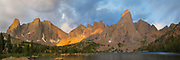 Sunrise overlooking Lonesome Lake and Pingora Peak (right of center) and the Cirque of the Towers, in the Wind River Range, Shoshone National Forest, Wyoming