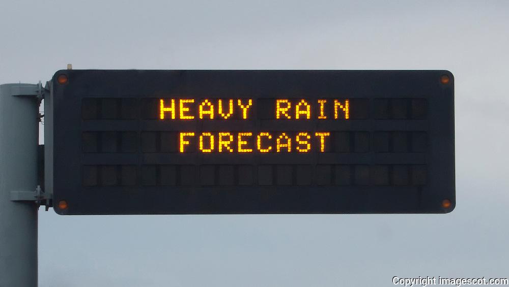 Motorway warning sign, HEAVY RAIN FORECAST