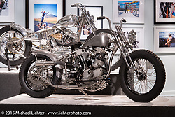 "Nate Jacob's custom Knucklehead in Michael Lichter's Motorcycles as Art annual exhibition titled ""The Naked Truth"" at the Buffalo Chip Gallery during the 75th Annual Sturgis Black Hills Motorcycle Rally.  SD, USA.  August 4, 2015.  Photography ©2015 Michael Lichter."