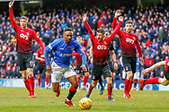 Rangers Substitute Jermain Defoe breaks away from the Kilmarnock defense during the Ladbrokes Scottish Premiership match between Rangers and Kilmarnock at Ibrox, Glasgow, Scotland on 16 March 2019.