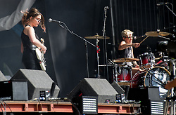 Stina Marie Claire Tweeddale and Cat Myers of Honeyblood performing live on stage on day 3 of Leeds Festival a Bramham Park, UK. Picture date: Sunday 27 August, 2017. Photo credit: Katja Ogrin/ EMPICS Entertainment.
