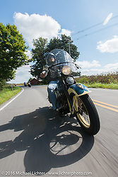 Matt McManus riding his 1936 Harley-Davidson Knucklehead during Stage 4 of the Motorcycle Cannonball Cross-Country Endurance Run, which on this day ran from Chatanooga to Clarksville, TN., USA. Monday, September 8, 2014.  Photography ©2014 Michael Lichter.