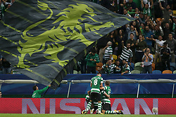 October 31, 2017 - Lisbon, Portugal - Sporting's midfielder Bruno Cesar from Brazil celebrates with teammates after scoring during the UEFA Champions League football match Sporting CP vs Juventus at the Alvalade stadium in Lisbon, Portugal on October 31, 2017. Photo: Pedro Fiuza  (Credit Image: © Pedro Fiuza/NurPhoto via ZUMA Press)