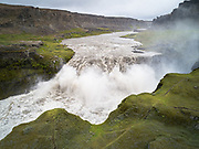 The Hafragilsfoss waterfall is a short distance below the more famous Dettifoss waterfall.
