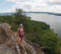 Karen Bobotas and Pam Kallmerten hiking Rattlesnake Island on Lake Winnipesaukee August 13, 2012.