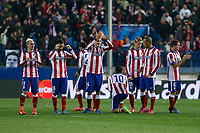 Atletico de Madrid´s players celebrate during penalty shootouts at the UEFA Champions League round of 16 second leg match between Atletico de Madrid and Bayer 04 Leverkusen at Vicente Calderon stadium in Madrid, Spain. March 17, 2015. (ALTERPHOTOS/Victor Blanco)