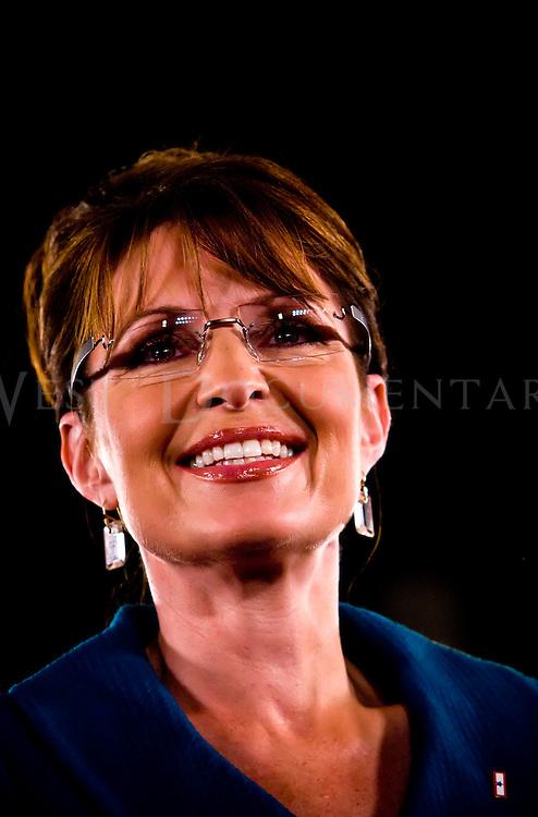 Gov. Sarah Palin (R-AK) speaks at the Raleigh State Fairgrounds, Raleigh, N.C. November 1, 2008.