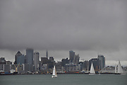 Auckland Skyline, capped by the typical winterly low layer of clouds.