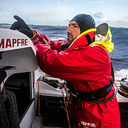 Leg 7 from Auckland to Itajai, day 10 on board MAPFRE, Xabi Fernandez talking to Blair and Guillermo, 26 March, 2018.