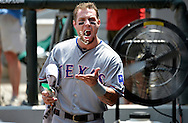 Texas Rangers' Josh Hamilton clowns around in the dugout before the game against the Chicago White Sox at U.S. Cellular Field on July 5, 2012 in Chicago.  (UPI)