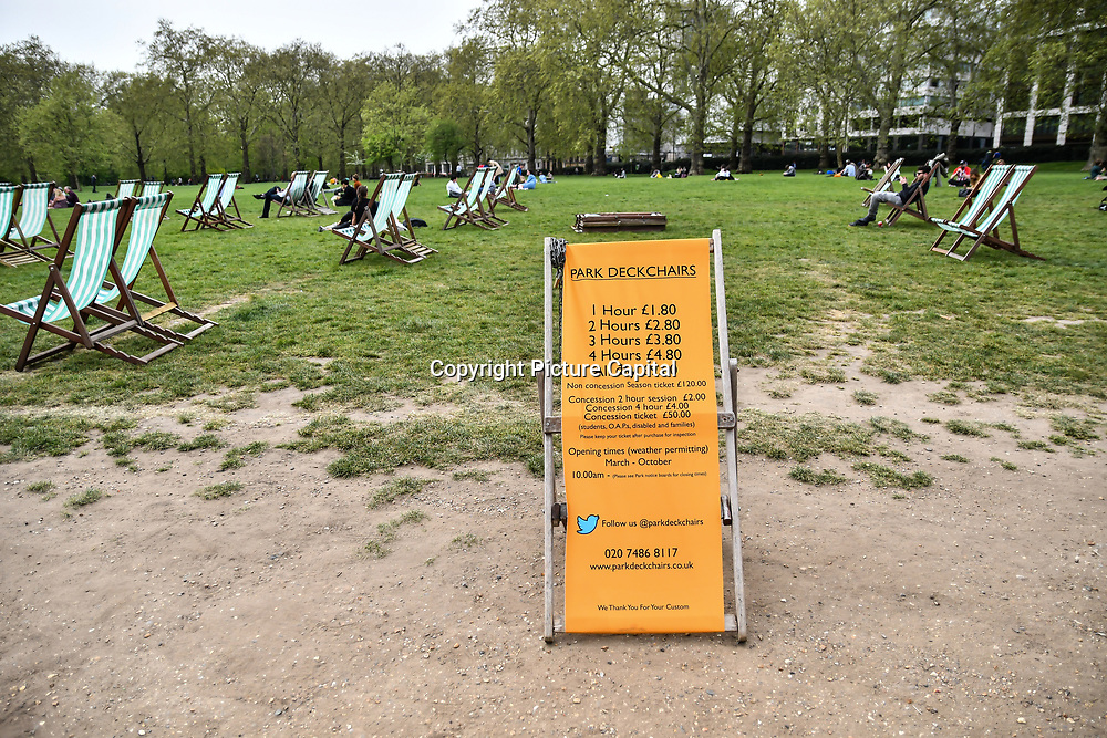 Park Deck Chairs at Green park on 23 April 2019, London, UK.