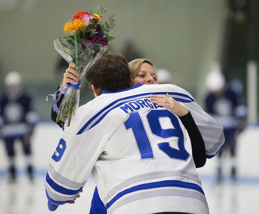 Nate Morgan, of Colby College, in a NCAA Division III hockey game against Connecticut College on February 20, 2015 in Waterville, ME. (Dustin Satloff/Colby College Athletics)