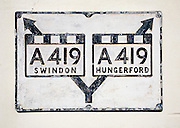 Old sign for A419 trunk road, Ramsbury village, Wiltshire, England, UK