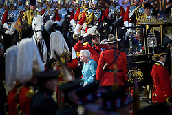 © Licensed to London News Pictures. 15/05/2016. Windsor, UK.  HRH QUEEN ELIZABETH II arrives at the arena . An evening event held at the Royal Windsor Horse show to celebrate the 90th birthday of HRH Queen Elizabeth II. Acts from arounds the world have been invited to perform at the evening event, set in the grounds of Windsor Castle. Photo credit: Ben Cawthra/LNP