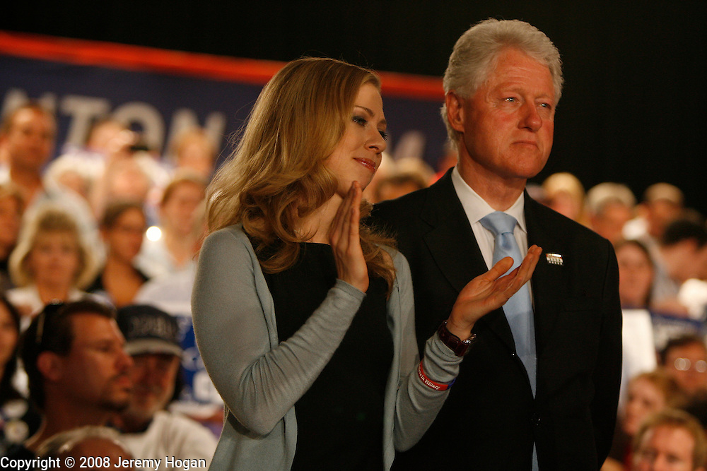 Chelsea Clinton and Bill Clinton support Hillary Clinton as she celebrates winning the Indiana primary.