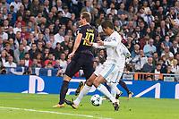Real Madrid Raphael Varane and Tottenham Harry Kane during UEFA Champions League match between Real Madrid and Tottenham at Santiago Bernabeu in Madrid, Spain October 17, 2017. (ALTERPHOTOS/Borja B.Hojas)