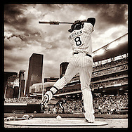 iPhone Instagram of Ryan Braun of the Milwaukee Brewers warming up on-deck against the Minnesota Twins at Target Field in Minneapolis, Minnesota on June 5, 2014