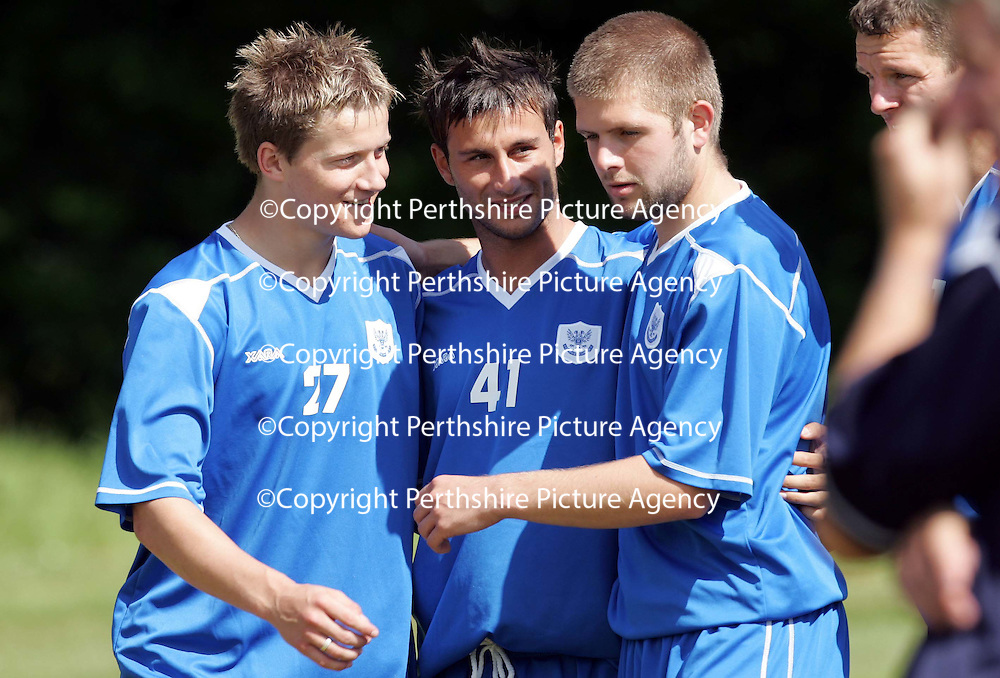 St Johnstone FC Training<br />Barcelona trialist Manuel Presseguer (centre) with Steven Doris and Neil Janczyk.<br />Picture by Graeme Hart.<br />Copyright Perthshire Picture Agency<br />Tel: 01738 623350  Mobile: 07990 594431