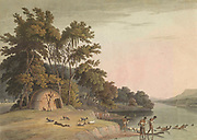 A Korah Hottentot village on the left bank of the Orange River hand colored plate from the collection of  ' African scenery and animals ' by Daniell, Samuel, 1775-1811 and Daniell, William, 1769-1837 published 1804