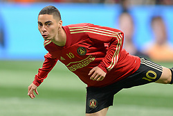 November 11, 2018 - Atlanta, GA, U.S. - ATLANTA, GA Ð NOVEMBER 11:  Atlanta's Miguel Almiron (10) stretches during warm-ups prior to the start of the MLS Eastern Conference semifinal match between Atlanta United and NYCFC on November 11th, 2018 at Mercedes-Benz Stadium in Atlanta, GA.  Atlanta United FC defeated New York City FC by a score of 3 to 1 to advance in the playoffs.  (Photo by Rich von Biberstein/Icon Sportswire) (Credit Image: © Rich Von Biberstein/Icon SMI via ZUMA Press)