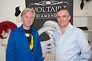 PHILIP TREACY; SEAMUS FAHY, Philip Treacy to create Bespoke Voltaire Daimonds ring collection. Philip Treacy showroom. London. 19 July 2012.