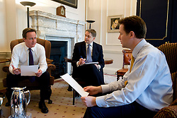 Jeremy Heywood, (middle) currently Permanent Secretary at No. 10 joins The  Prime Minister David Cameron during a meeting with the Deputy Prime Minster Nick Clegg at Number 10 Downing St, London, Wednesday May 12, 2010 . .Cabinet Secretary Sir Gus O'Donnell steps down at the end of the year and is replaced by Jeremy Heywood, (middle) currently Permanent Secretary at No. 10, will replace Gus O'Donnell as Cabinet Secretary. Photo By Andrew Parsons/ i-Images