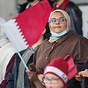 DUBLIN, IRELAND:  October 12:   Supporters of Qatar during the Republic of Ireland V Qatar International friendly match at Aviva Stadium on October 12th, 2021 in Dublin, Ireland. (Photo by Tim Clayton/Corbis via Getty Images)
