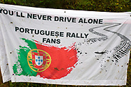 Portuguese banner during the Wales Rally GB at the Snowdonia National Park on 4 October 2019.
