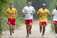 FOTBALL - FRENCH CHAMPIONSHIP 2003/2004 - LE MANS UC - 030627 - SERGIU RADU / JEAN FRANCOIS BEDENIK / DESIRE PERIATAMBEE DURING THE LE MANS TRAINING IN LA PINCENARDIERE - PHOTO STEPHANE MANTEY / DIGITALSPORT