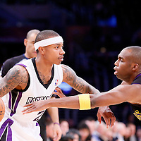28 February 2014: Los Angeles Lakers shooting guard Jodie Meeks (20) defends on Sacramento Kings point guard Isaiah Thomas (22) during the Los Angeles Lakers 126-122 victory over the Sacramento Kings at the Staples Center, Los Angeles, California, USA.