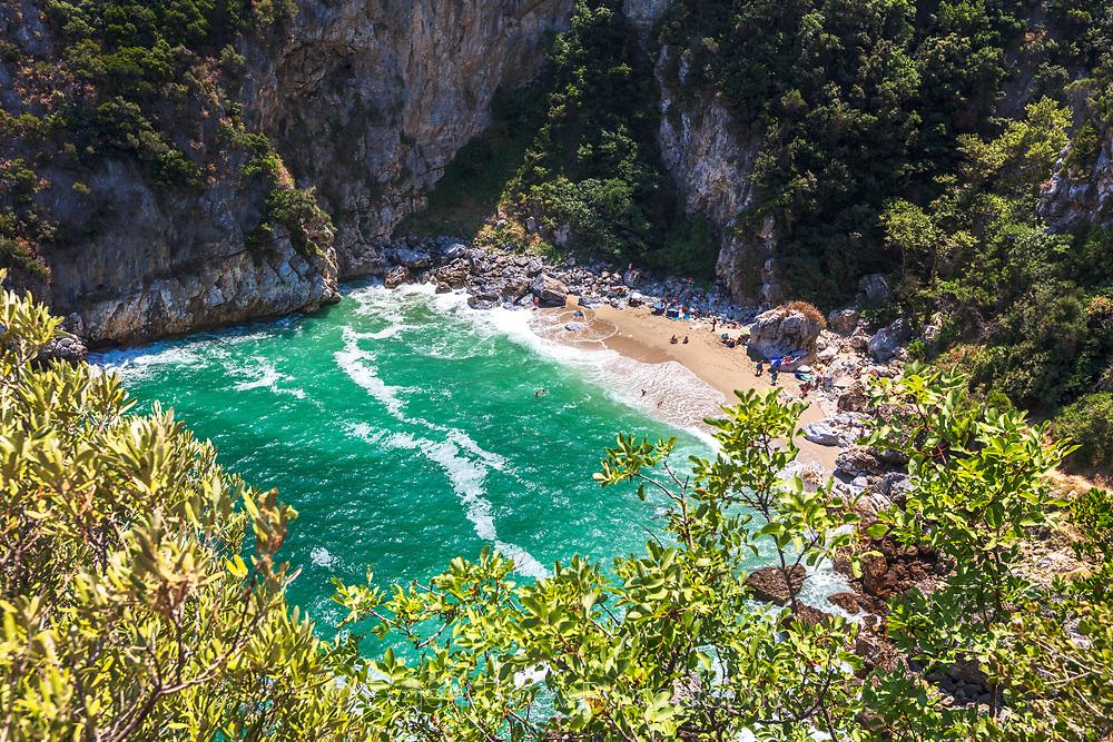 Tsagkarada, Pelion, Greece - July, 2021: Fakistra Beach