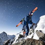 Jeremie Heitz climbing to Hochberghorn 5 May 2018.