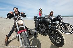Kissa Von Addams, Leticia Cline and Deneille Basualdo on Daytona Beach during Daytona Bike Week 75th Anniversary event. FL, USA. Thursday March 3, 2016.  Photography ©2016 Michael Lichter.
