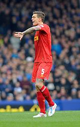 Liverpool's Daniel Agger - Photo mandatory by-line: Dougie Allward/JMP - Tel: Mobile: 07966 386802 23/11/2013 - SPORT - Football - Liverpool - Merseyside derby - Goodison Park - Everton v Liverpool - Barclays Premier League