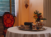 Tea setting in the Parlor of Melrose, Rococo Revival Furniture from the Davis Family, Natchez National Historical Park, Natchez, Mississippi.