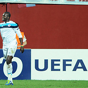 Lille's Moussa SOW (R) celebrate his goal during their UEFA Champions League group stage matchday 2 soccer match Trabzonspor between Lille at the Avni Aker Stadium at Trabzon Turkey on Tuesday, 27 September 2011. Photo by TURKPIX