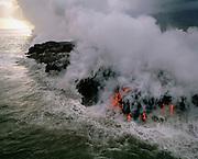 Lava Flowing into ocean, Kilauea Volcano, Island of Hawaii