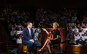 Fox News host Megyn Kelly talks with Republican presidential candidate Sen. Ted Cruz, R-Texas, at the taping of a news show. (AP Photo/Andy Manis)