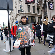 Protestor against Canada Goose jackets of millions of coyotes who are mercilessly trapped in steel-jawed leghold traps then brutally killed for a decoration on Canada Goose jackets at 244 Regent Street, London, W1F 2EL, United Kingdom on 25th September 2021.