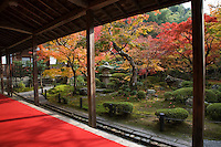 Located at the foot of Mt. Hiei in eastern Kyoto, Enkoji is one of many temple gardens that dot this part of town. Enkoji was founded in 1601 by Tokugawa Ieyasu - its mission was to promote learning and scholarship in Japan. As a result, both monks and laymen were allowed as students. Enkoji is well known for its autumn leaves.