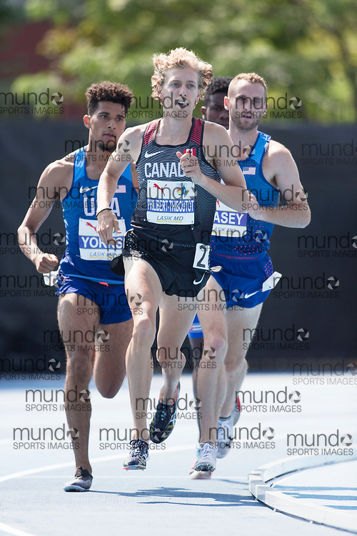 Toronto, ON -- 12 August 2018: Charles Philibert-Thiboutot (Canada), bronze in the 1500m at the 2018 North America, Central America, and Caribbean Athletics Association (NACAC) Track and Field Championships held at Varsity Stadium, Toronto, Canada. (Photo by Sean Burges / Mundo Sport Images).
